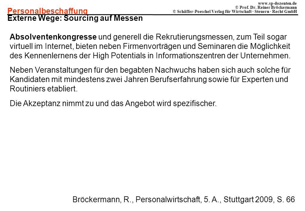 Personalbeschaffung www.sp-dozenten.de © Prof. Dr. Reiner Bröckermann © Schäffer-Poeschel Verlag für Wirtschaft · Steuern · Recht GmbH Externe Wege: S