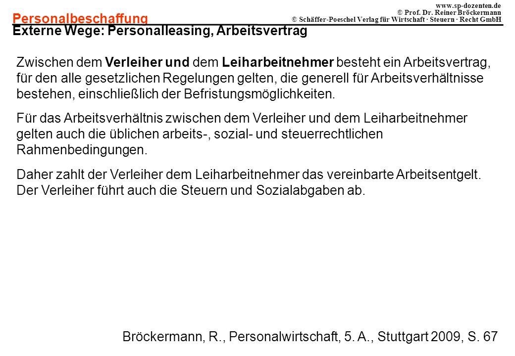 Personalbeschaffung www.sp-dozenten.de © Prof. Dr. Reiner Bröckermann © Schäffer-Poeschel Verlag für Wirtschaft · Steuern · Recht GmbH Externe Wege: P