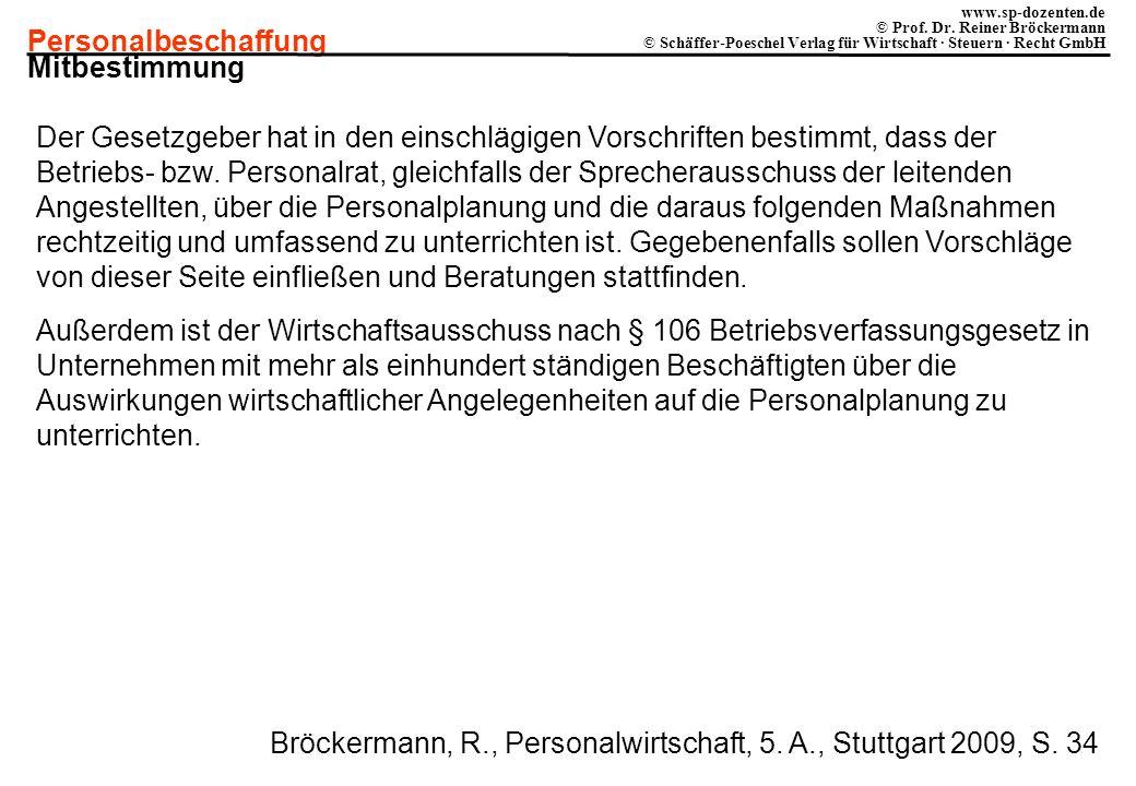 Personalbeschaffung www.sp-dozenten.de © Prof. Dr. Reiner Bröckermann © Schäffer-Poeschel Verlag für Wirtschaft · Steuern · Recht GmbH Mitbestimmung D