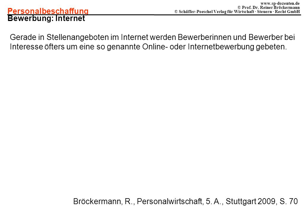 Personalbeschaffung www.sp-dozenten.de © Prof. Dr. Reiner Bröckermann © Schäffer-Poeschel Verlag für Wirtschaft · Steuern · Recht GmbH Bewerbung: Inte