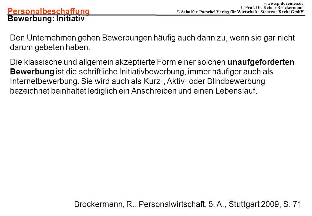 Personalbeschaffung www.sp-dozenten.de © Prof. Dr. Reiner Bröckermann © Schäffer-Poeschel Verlag für Wirtschaft · Steuern · Recht GmbH Bewerbung: Init