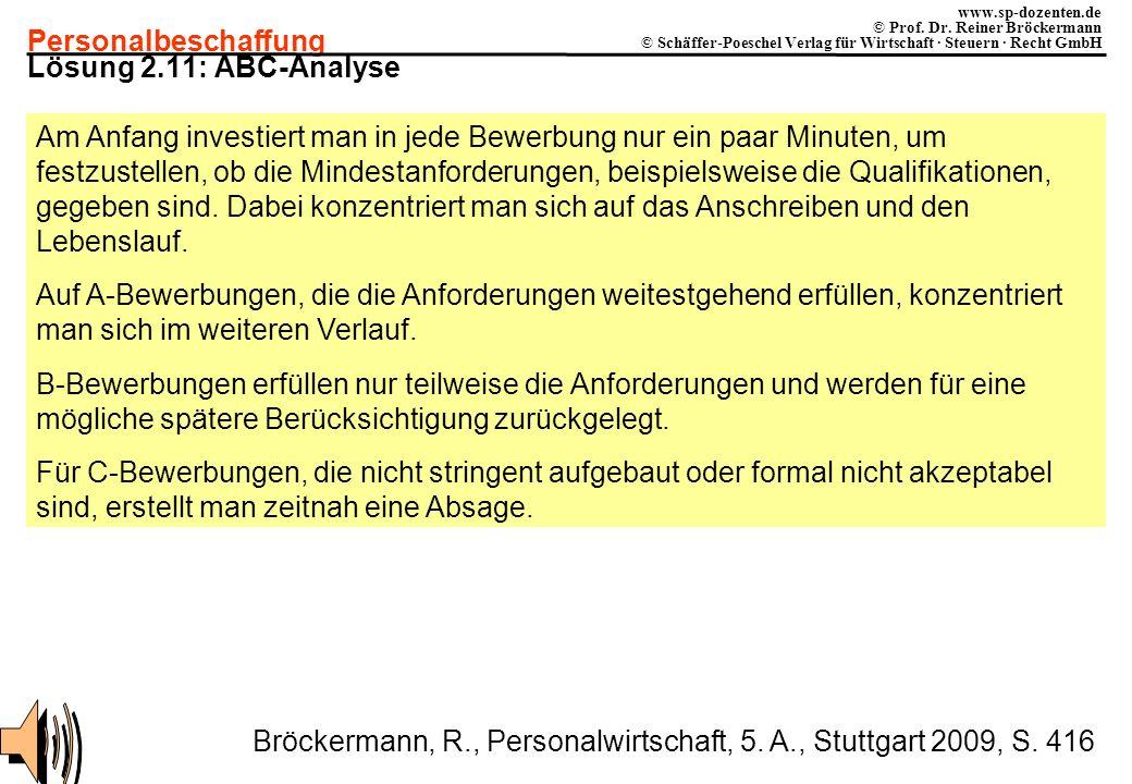 Personalbeschaffung www.sp-dozenten.de © Prof. Dr. Reiner Bröckermann © Schäffer-Poeschel Verlag für Wirtschaft · Steuern · Recht GmbH Lösung 2.11: AB