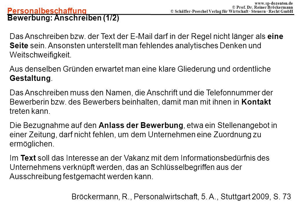 Personalbeschaffung www.sp-dozenten.de © Prof. Dr. Reiner Bröckermann © Schäffer-Poeschel Verlag für Wirtschaft · Steuern · Recht GmbH Bewerbung: Ansc