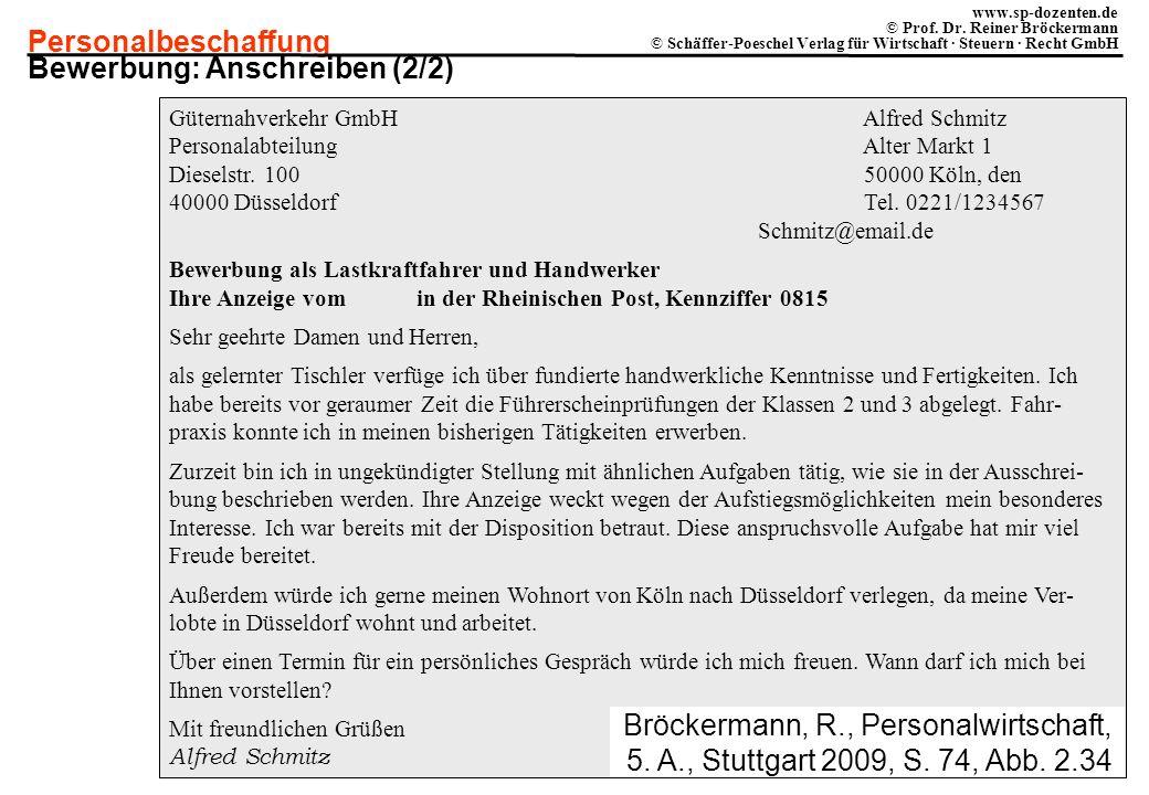 Personalbeschaffung www.sp-dozenten.de © Prof. Dr. Reiner Bröckermann © Schäffer-Poeschel Verlag für Wirtschaft · Steuern · Recht GmbH Güternahverkehr