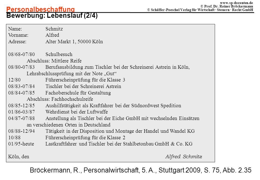 Personalbeschaffung www.sp-dozenten.de © Prof. Dr. Reiner Bröckermann © Schäffer-Poeschel Verlag für Wirtschaft · Steuern · Recht GmbH Name:Schmitz Vo