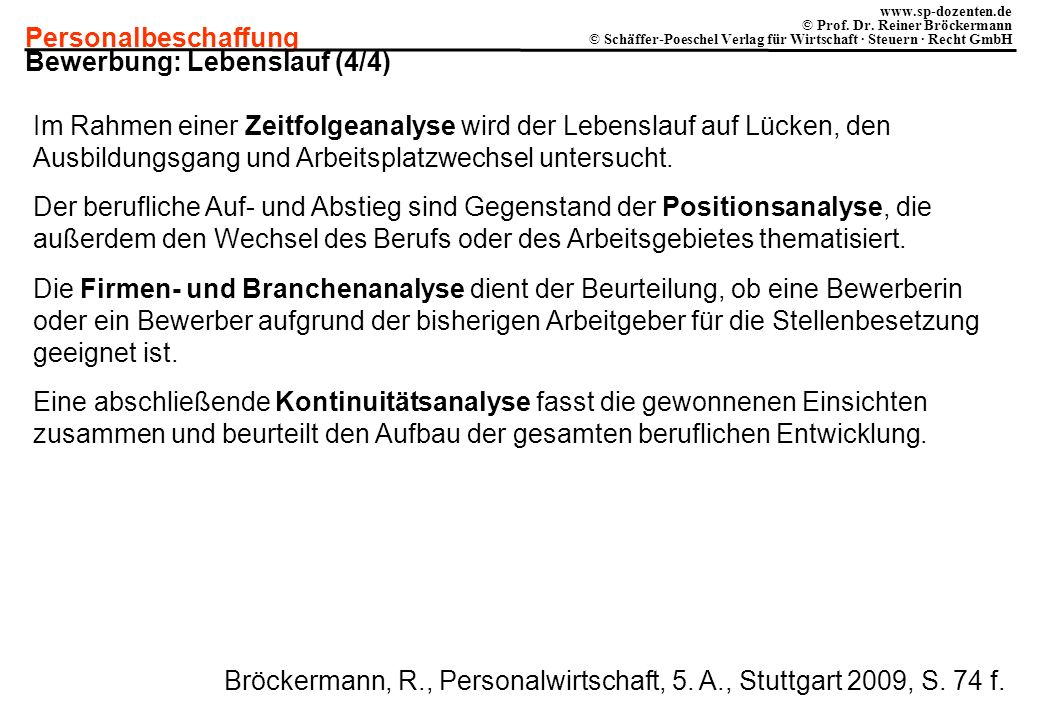 Personalbeschaffung www.sp-dozenten.de © Prof. Dr. Reiner Bröckermann © Schäffer-Poeschel Verlag für Wirtschaft · Steuern · Recht GmbH Bewerbung: Lebe
