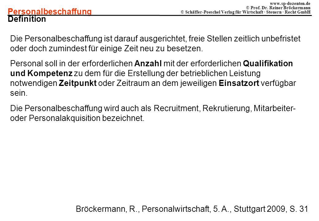 Personalbeschaffung www.sp-dozenten.de © Prof. Dr. Reiner Bröckermann © Schäffer-Poeschel Verlag für Wirtschaft · Steuern · Recht GmbH Definition Die