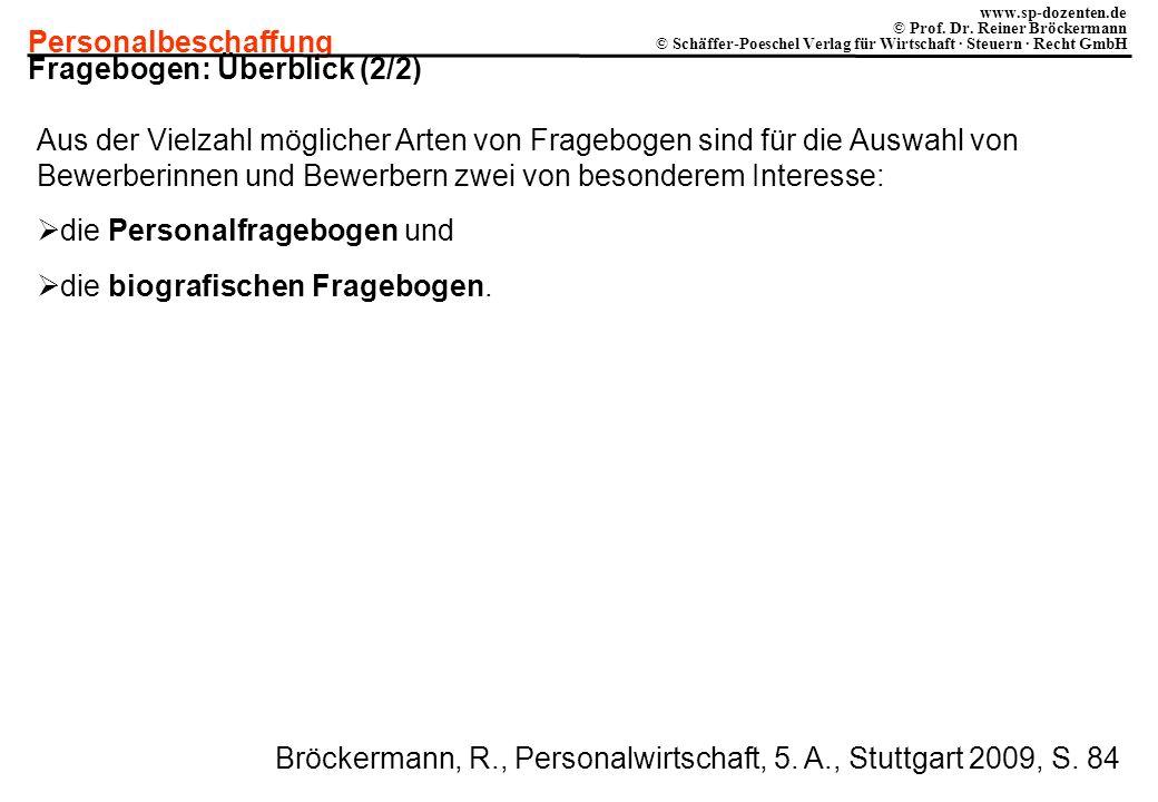 Personalbeschaffung www.sp-dozenten.de © Prof. Dr. Reiner Bröckermann © Schäffer-Poeschel Verlag für Wirtschaft · Steuern · Recht GmbH Fragebogen: Übe