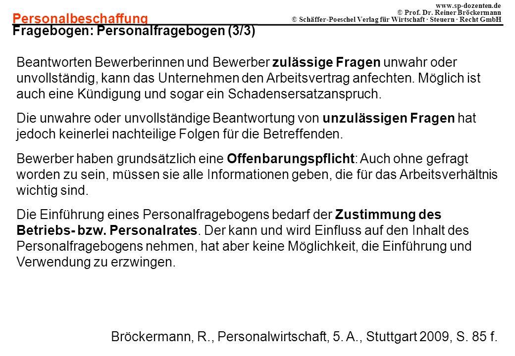Personalbeschaffung www.sp-dozenten.de © Prof. Dr. Reiner Bröckermann © Schäffer-Poeschel Verlag für Wirtschaft · Steuern · Recht GmbH Fragebogen: Per
