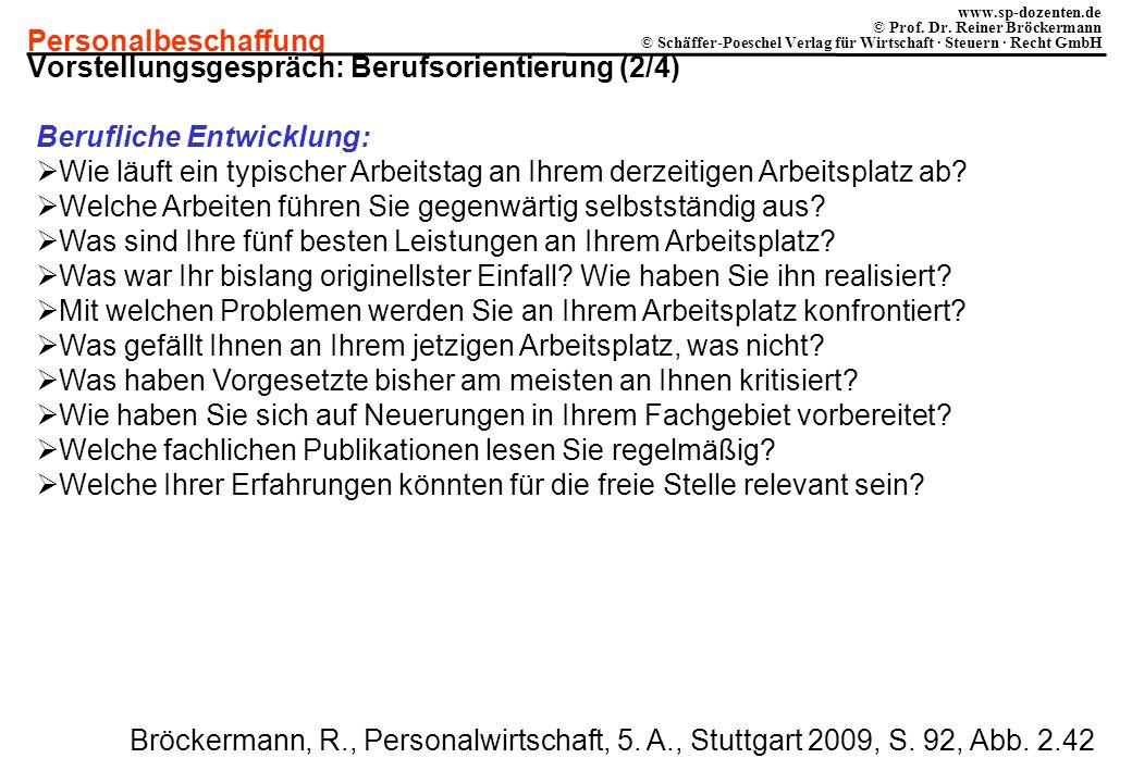 Personalbeschaffung www.sp-dozenten.de © Prof. Dr. Reiner Bröckermann © Schäffer-Poeschel Verlag für Wirtschaft · Steuern · Recht GmbH Vorstellungsges