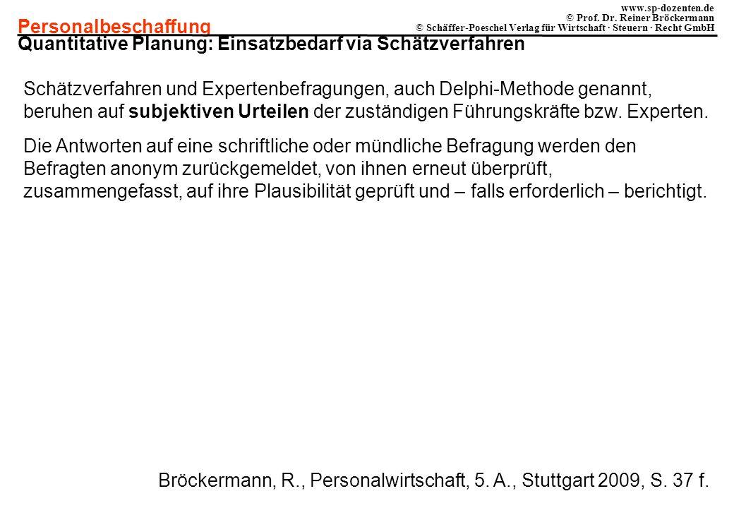 Personalbeschaffung www.sp-dozenten.de © Prof. Dr. Reiner Bröckermann © Schäffer-Poeschel Verlag für Wirtschaft · Steuern · Recht GmbH Quantitative Pl