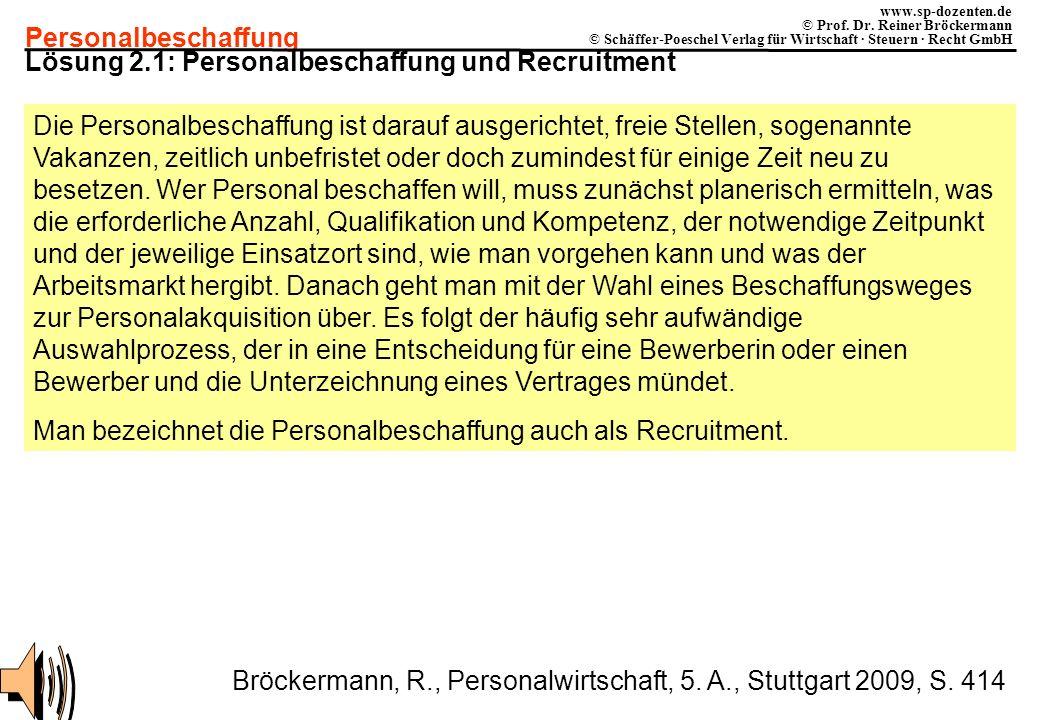 Personalbeschaffung www.sp-dozenten.de © Prof. Dr. Reiner Bröckermann © Schäffer-Poeschel Verlag für Wirtschaft · Steuern · Recht GmbH Lösung 2.1: Per