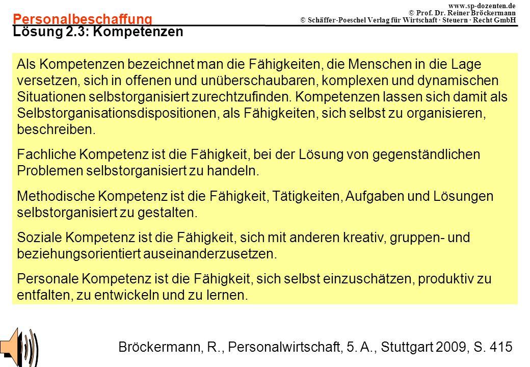 Personalbeschaffung www.sp-dozenten.de © Prof. Dr. Reiner Bröckermann © Schäffer-Poeschel Verlag für Wirtschaft · Steuern · Recht GmbH Lösung 2.3: Kom