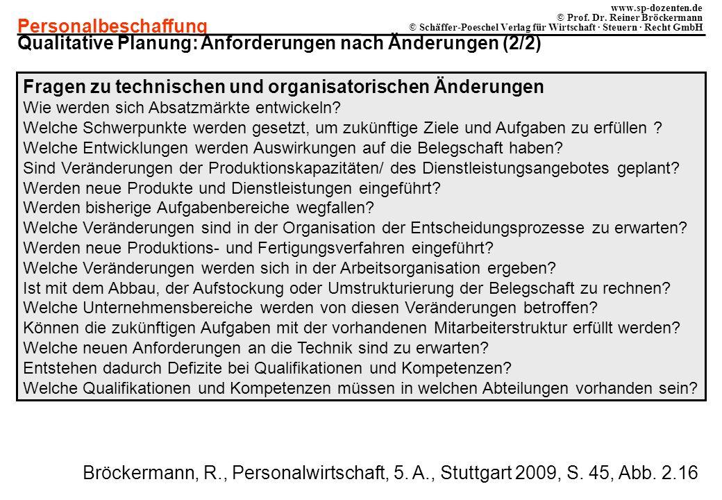 Personalbeschaffung www.sp-dozenten.de © Prof. Dr. Reiner Bröckermann © Schäffer-Poeschel Verlag für Wirtschaft · Steuern · Recht GmbH Fragen zu techn