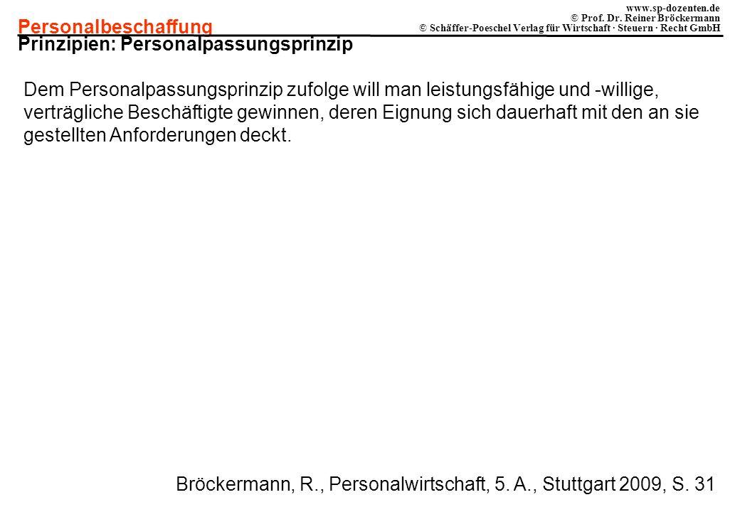 Personalbeschaffung www.sp-dozenten.de © Prof. Dr. Reiner Bröckermann © Schäffer-Poeschel Verlag für Wirtschaft · Steuern · Recht GmbH Prinzipien: Per