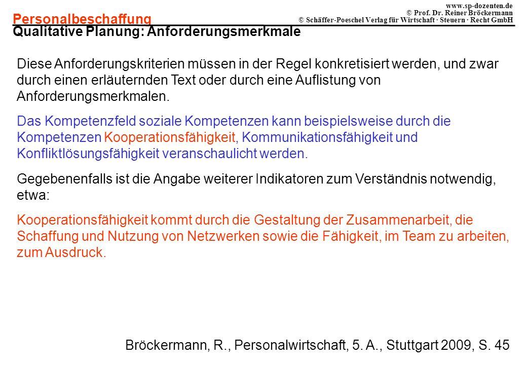 Personalbeschaffung www.sp-dozenten.de © Prof. Dr. Reiner Bröckermann © Schäffer-Poeschel Verlag für Wirtschaft · Steuern · Recht GmbH Qualitative Pla
