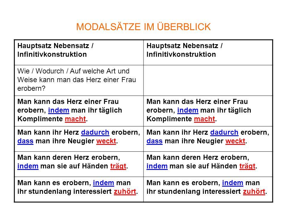Nominalisierung Eine modale Angabe kann auch mit einer Präposition-Nomen-Konstruktionen formuliert werden.