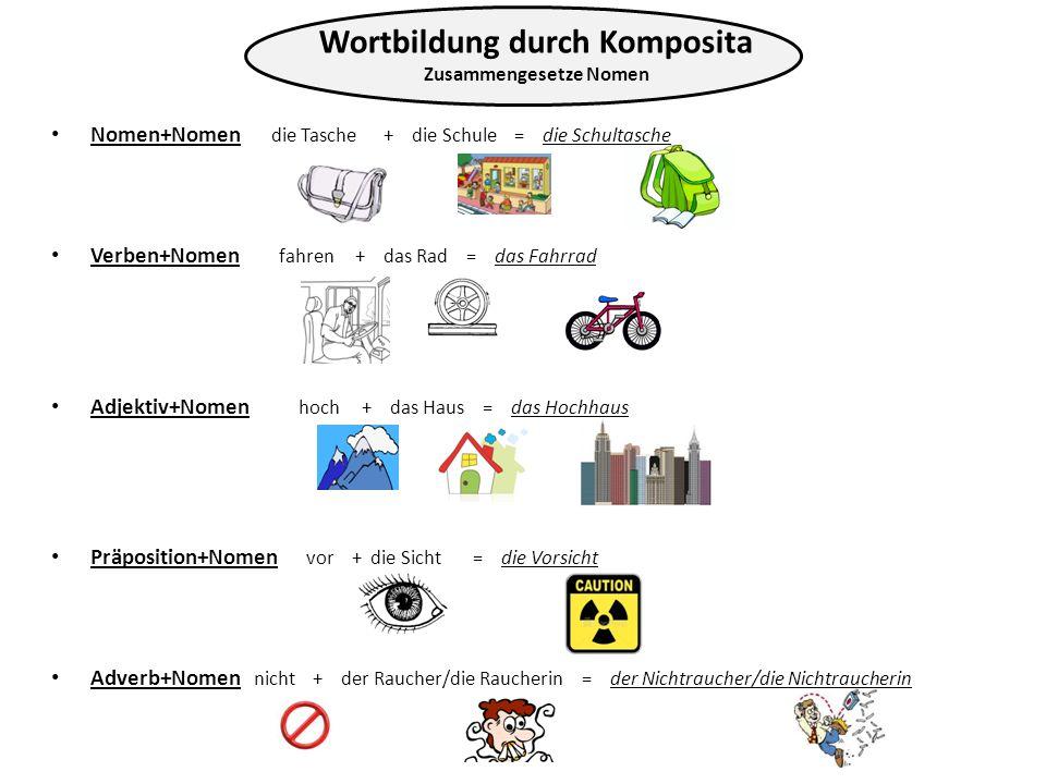 Nomen+Nomen die Tasche + die Schule = die Schultasche Verben+Nomen fahren + das Rad = das Fahrrad Adjektiv+Nomen hoch + das Haus = das Hochhaus Präpos