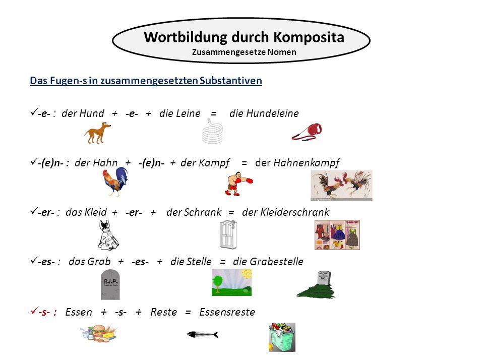 Das Fugen-s in zusammengesetzten Substantiven -e- : der Hund + -e- + die Leine = die Hundeleine -(e)n- : der Hahn + -(e)n- + der Kampf = der Hahnenkam