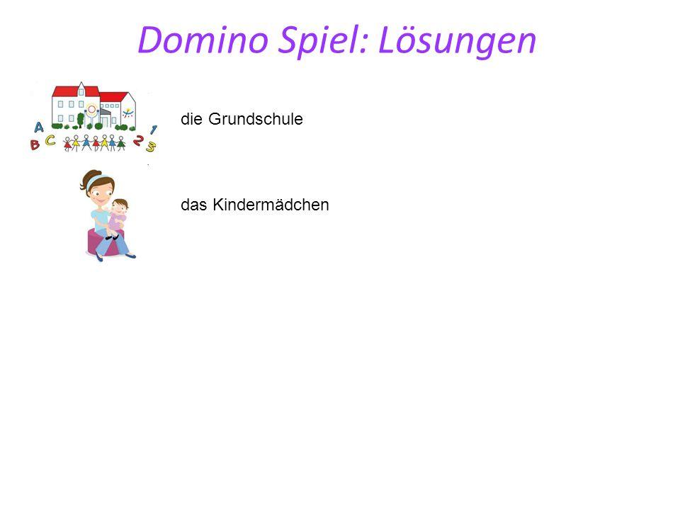 die Grundschule das Kindermädchen Domino Spiel: Lösungen