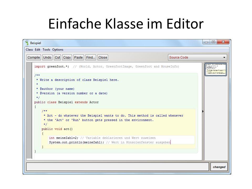 Einfache Klasse im Editor
