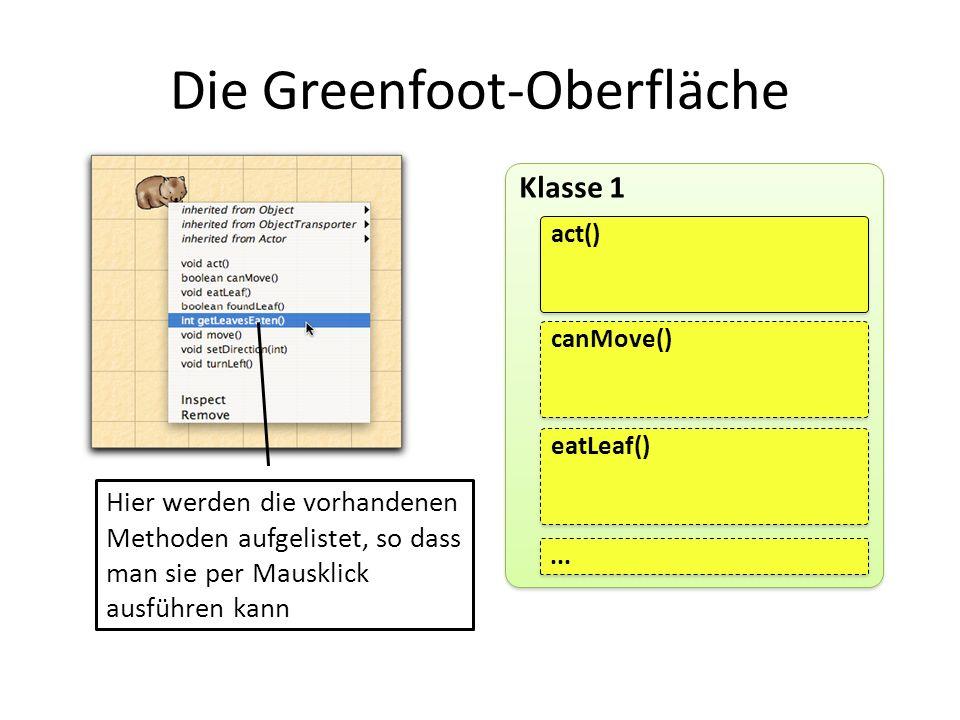 Die Greenfoot-Oberfläche die gewählte Methode einmal ausführen die act()-Methode einmal ausführen die act()-Methode immer wieder ausführen die Wombat-Klasse, doppelklicken um den Code zu sehen, der das Verhalten eines Wombats bestimmt noch eine Klasse Den JAVA-Code in Maschinensprache übersetzen