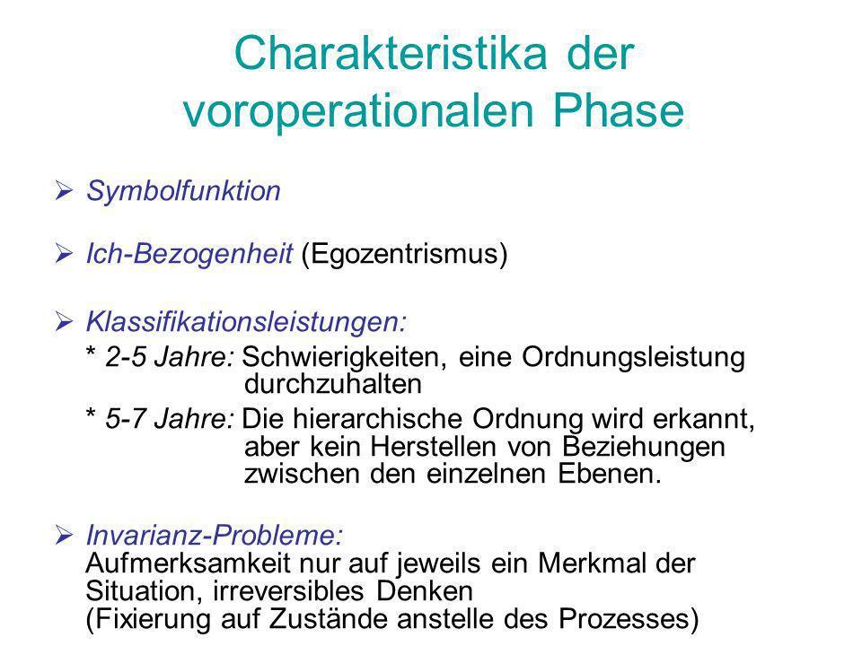 Charakteristika der voroperationalen Phase Symbolfunktion Ich-Bezogenheit (Egozentrismus) Klassifikationsleistungen: * 2-5 Jahre: Schwierigkeiten, ein