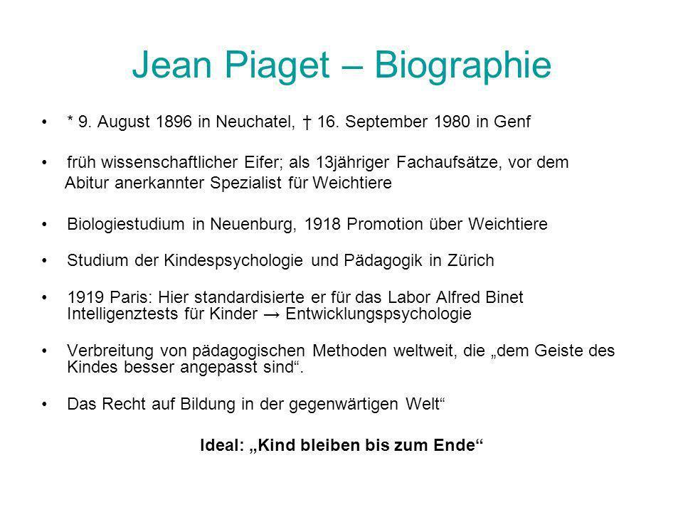 Jean Piaget – Biographie * 9. August 1896 in Neuchatel, 16. September 1980 in Genf früh wissenschaftlicher Eifer; als 13jähriger Fachaufsätze, vor dem