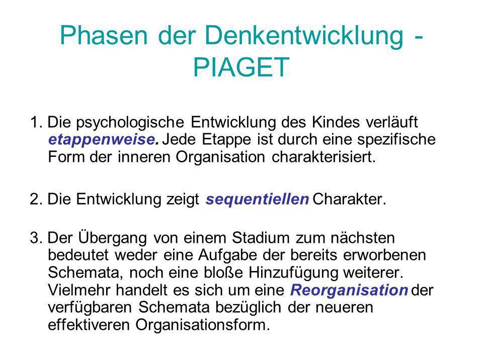 Die vier Phasen - PIAGET Piaget unterscheidet vier Phasen während der Entwicklung der kognitiven Entwicklung von Kindern: 1.