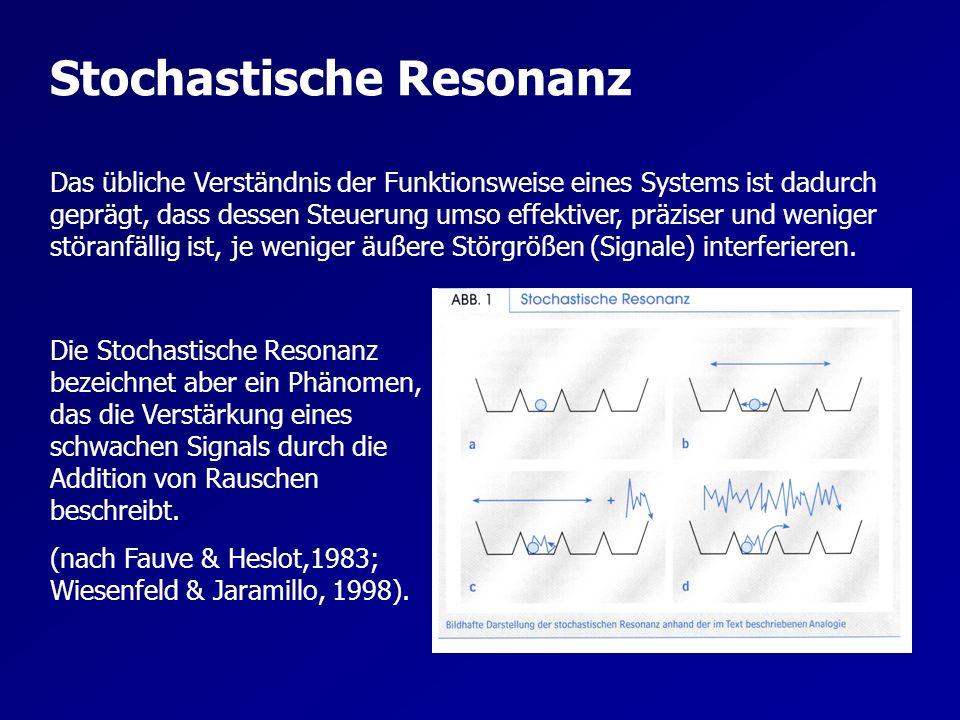 Stochastische Resonanz & Differenzielles Lernen Geht man von einer Art Grundrauschen aus, das sich in ständig auftretenden Fluktuationen (Fehlern) in der Bewegungsausführung zeigt, so verstärkt bzw.