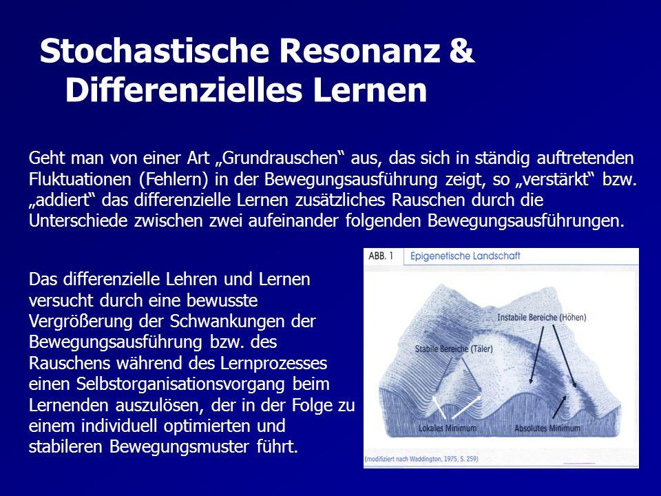 Stochastische Resonanz & Differenzielles Lernen Als Beurteilungskriterium der stochastischen Resonanz wird hierfür das Signal-Rausch-Verhältnis (SRV) verwendet.