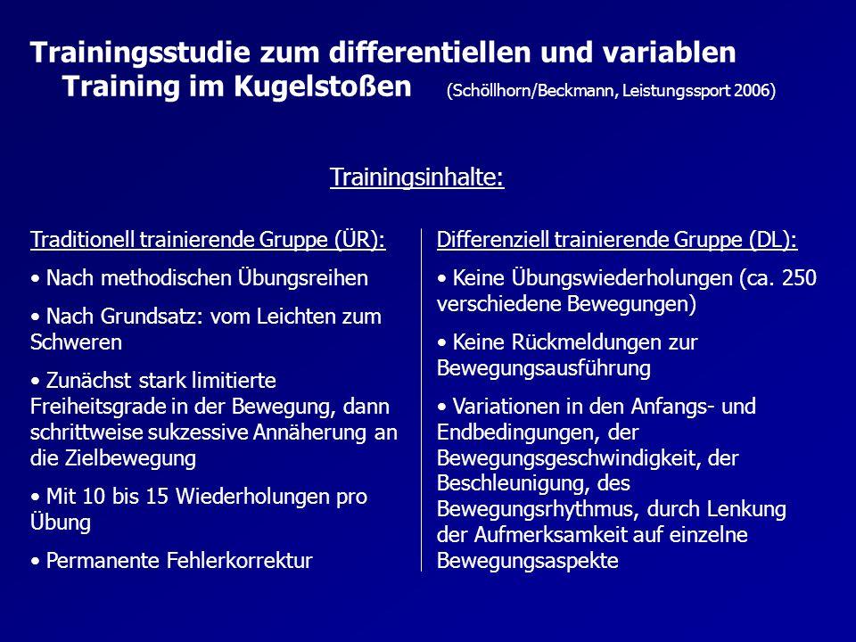 Trainingsstudie zum differentiellen und variablen Training im Kugelstoßen (Schöllhorn/Beckmann, Leistungssport 2006) Trainingsinhalte bzw.
