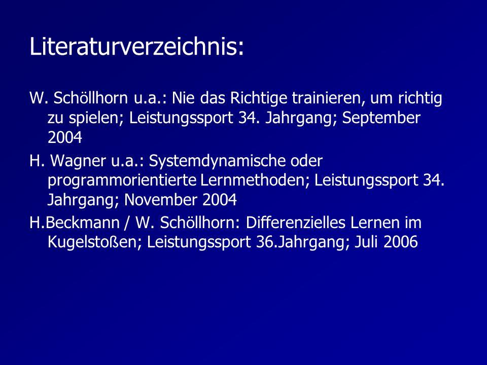 Literaturverzeichnis: W. Sch ö llhorn u.a.: Nie das Richtige trainieren, um richtig zu spielen; Leistungssport 34. Jahrgang; September 2004 H. Wagner
