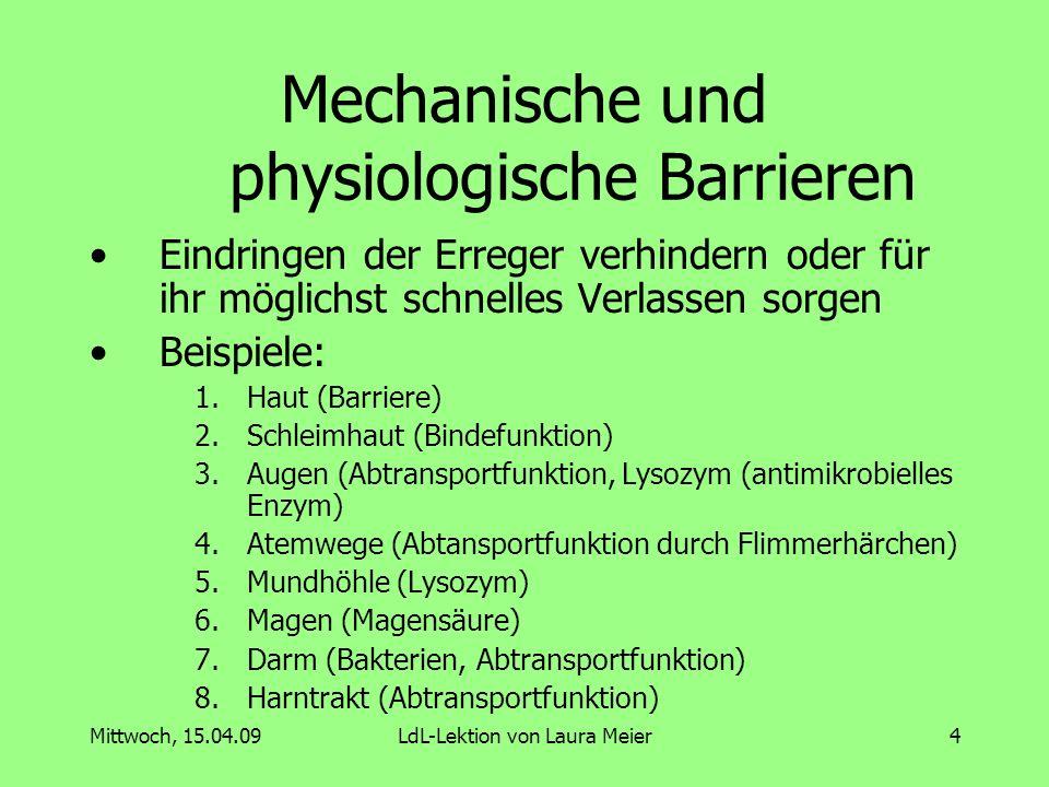 Mittwoch, 15.04.09LdL-Lektion von Laura Meier5 Zelluläre Bestandteile Granulozyten (Körnchen) Makrophagen (Riesenfresszellen) Natürliche Killerzellen T-Helferzellen B-Lymphozyten T-Lymphozyten