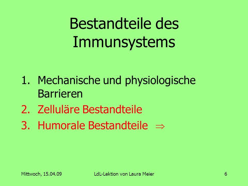Mittwoch, 15.04.09LdL-Lektion von Laura Meier7 Humorale Bestandteile Antikörper Komplementsystem Filme