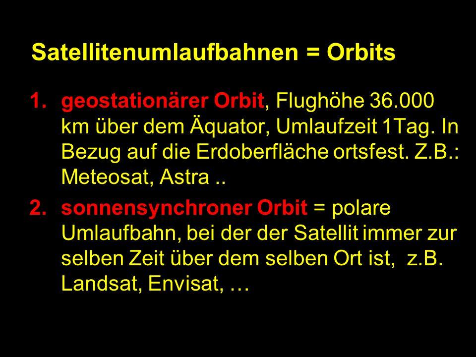 Satellitenumlaufbahnen = Orbits 1.geostationärer Orbit, Flughöhe 36.000 km über dem Äquator, Umlaufzeit 1Tag.