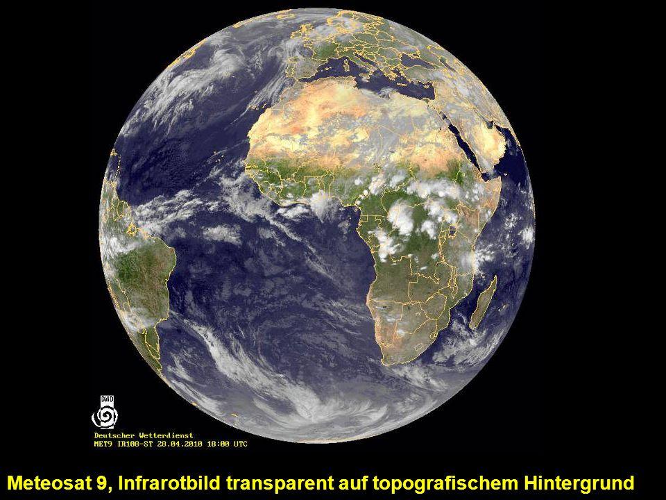 Meteosat 9, Infrarotbild transparent auf topografischem Hintergrund