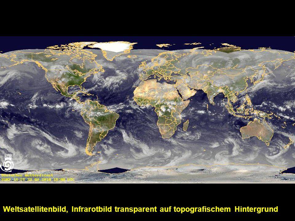 Weltsatellitenbild, Infrarotbild transparent auf topografischem Hintergrund