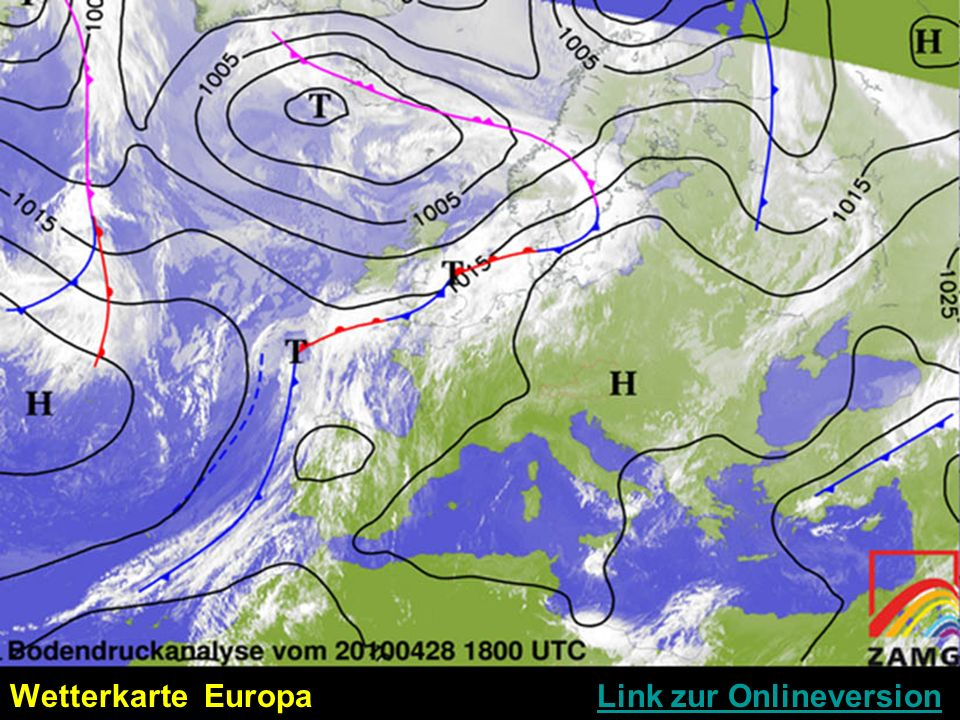 Wetterkarte Europa Link zur OnlineversionLink zur Onlineversion