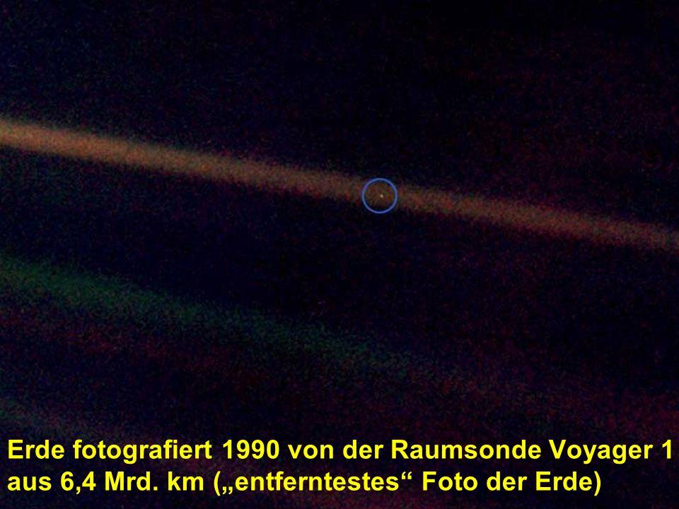 Erde fotografiert 1990 von der Raumsonde Voyager 1 aus 6,4 Mrd. km (entferntestes Foto der Erde)