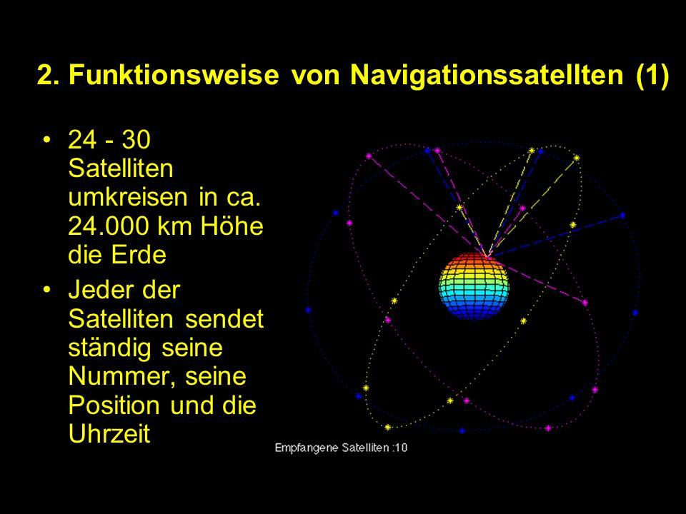 2.Funktionsweise von Navigationssatellten (1) 24 - 30 Satelliten umkreisen in ca.