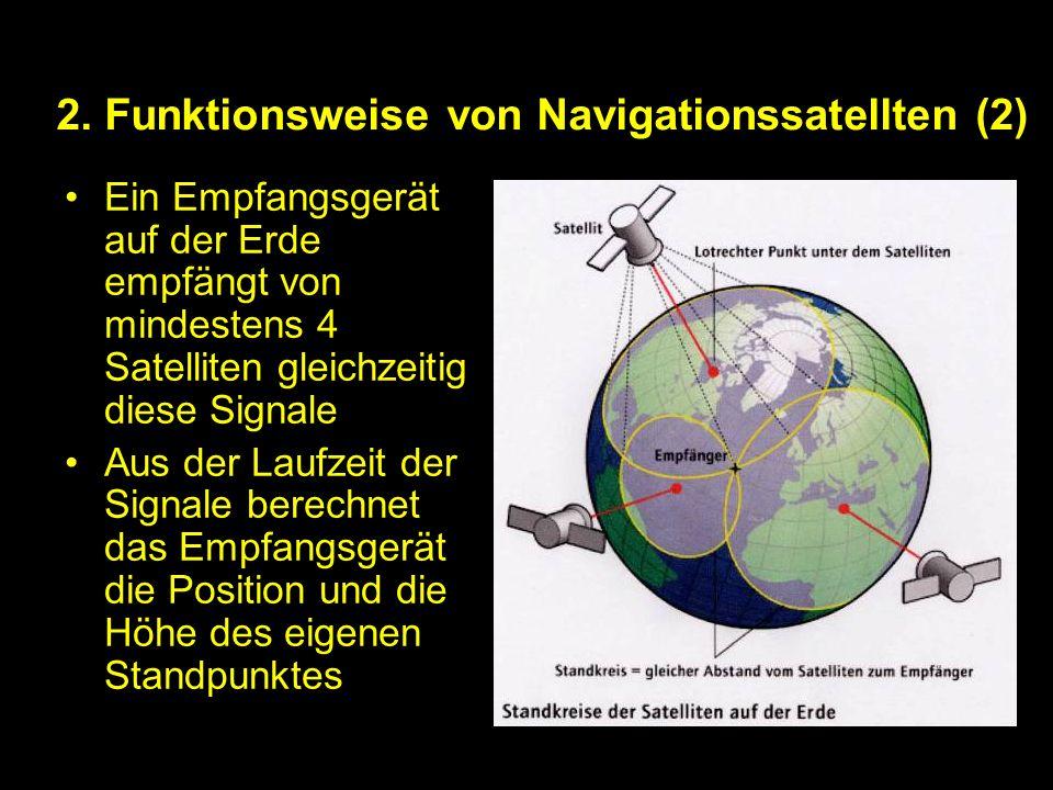 2. Funktionsweise von Navigationssatellten (2) Ein Empfangsgerät auf der Erde empfängt von mindestens 4 Satelliten gleichzeitig diese Signale Aus der