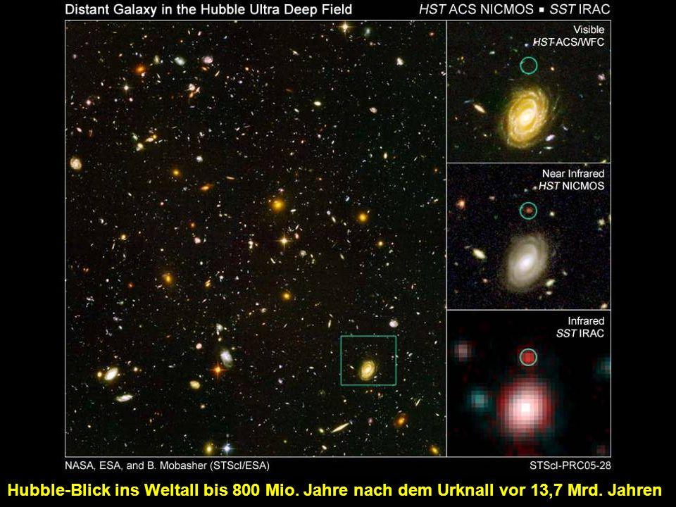 Hubble-Blick ins Weltall bis 800 Mio. Jahre nach dem Urknall vor 13,7 Mrd. Jahren