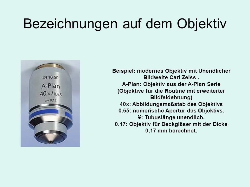 Bezeichnungen auf dem Objektiv Beispiel: modernes Objektiv mit Unendlicher Bildweite Carl Zeiss. A-Plan: Objektiv aus der A-Plan Serie (Objektive für