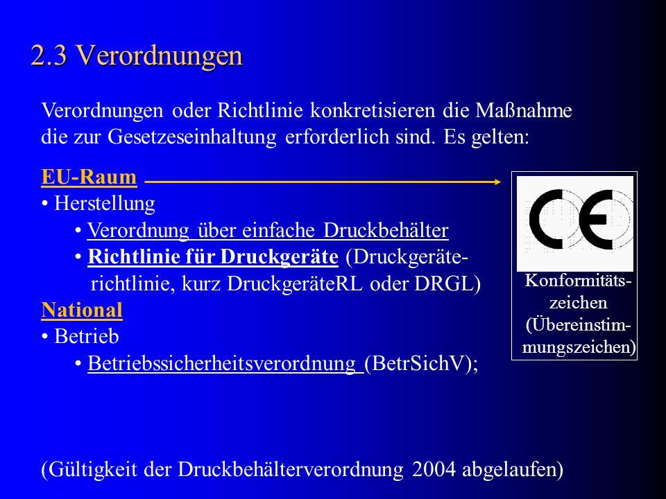 2.4 Einfache Druckbehälter Verordnung definiert die Rahmenbedingungen für Entwurf (Berechnung, Konstruktion) und Fertigung und Prüfung von Auslegungs- und Konstruktions-Details: DIN EN 286 - Einfach unbefeuerte Druckbehälter für Luft und Stickstoff; Merkblätter der Arbeitsgemeinschaft Druckbehälter ( AD-Merkblätter ); (EU-Gemein- schaftsrichtlinie) Herstellungsbedingungen