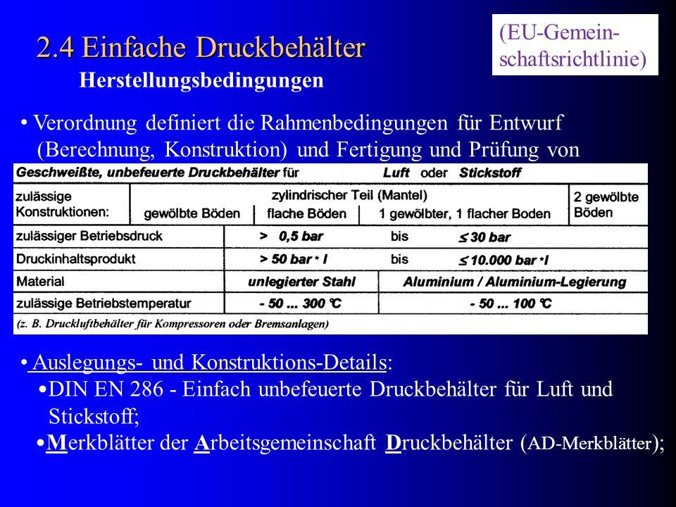 2.4 Einfache Druckbehälter Verordnung definiert die Rahmenbedingungen für Entwurf (Berechnung, Konstruktion) und Fertigung und Prüfung von Auslegungs-