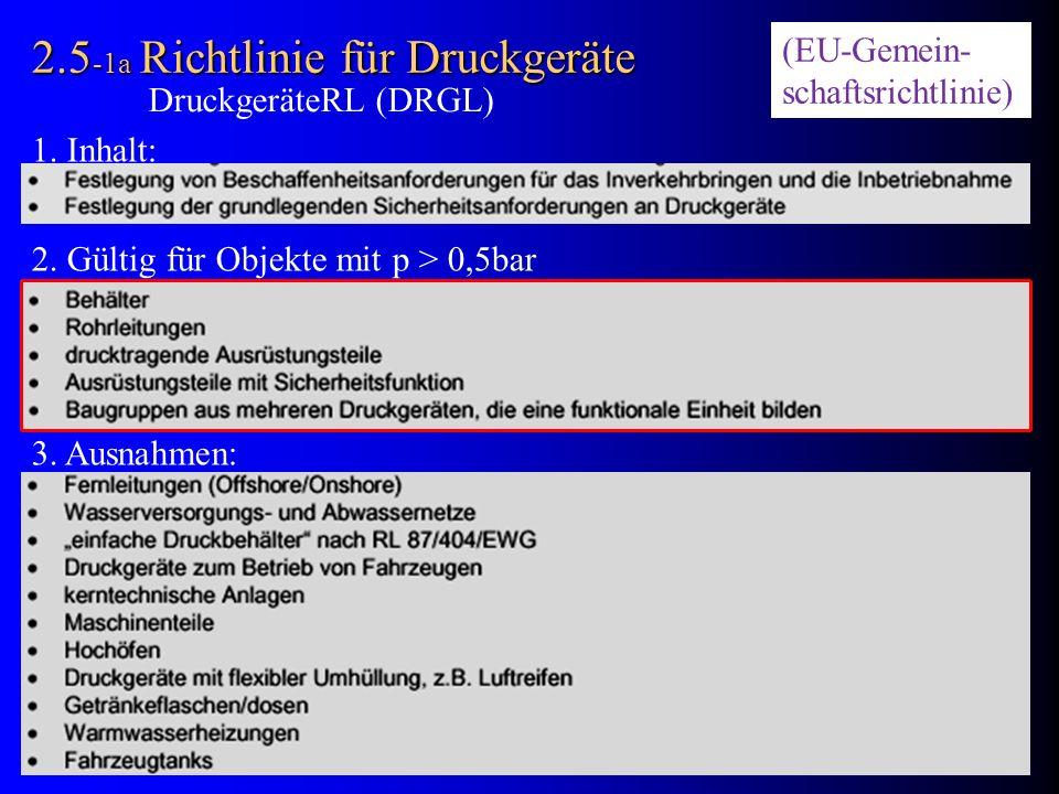 2.5 -1a Richtlinie für Druckgeräte 1. Inhalt: 2. Gültig für Objekte mit p > 0,5bar 3. Ausnahmen: DruckgeräteRL (DRGL) (EU-Gemein- schaftsrichtlinie)