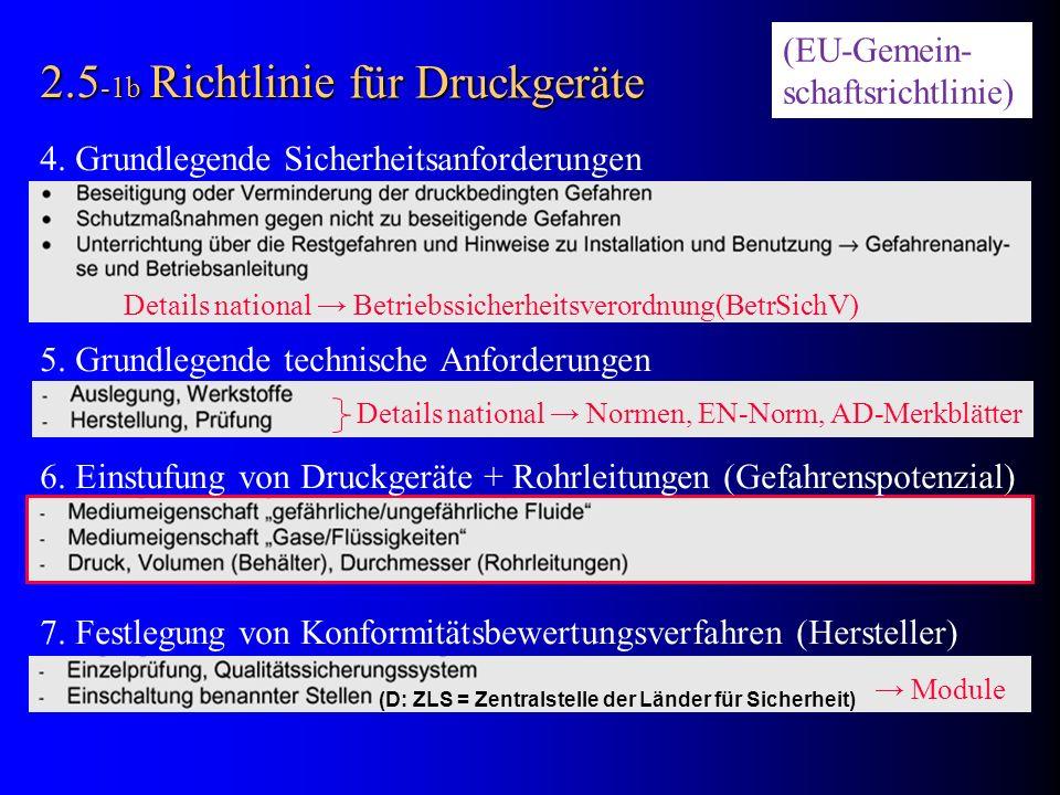 2.5 -1b Richtlinie 4. Grundlegende Sicherheitsanforderungen 5. Grundlegende technische Anforderungen 6. Einstufung von Druckgeräte + Rohrleitungen (Ge