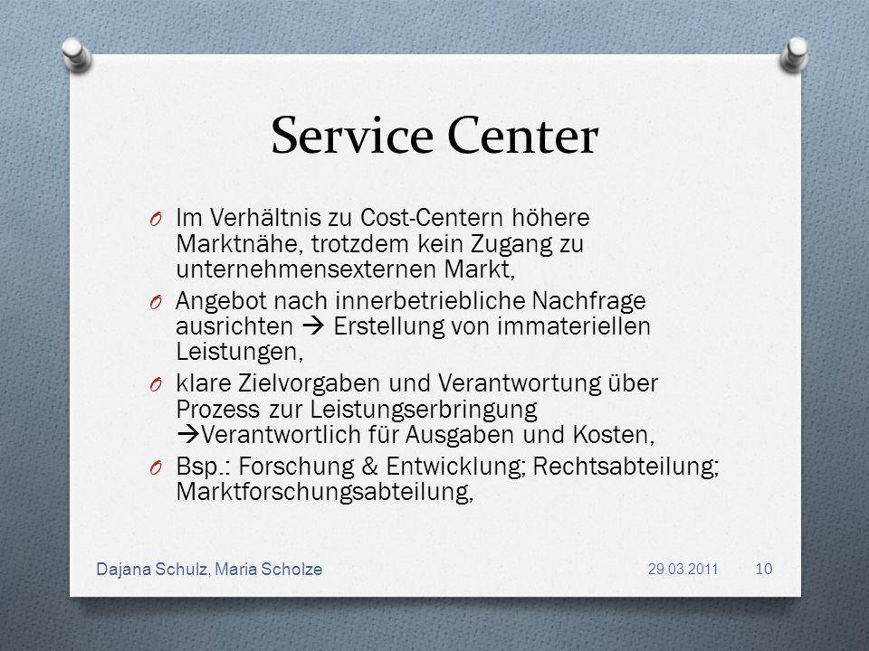 Service Center O Im Verhältnis zu Cost-Centern höhere Marktnähe, trotzdem kein Zugang zu unternehmensexternen Markt, O Angebot nach innerbetriebliche