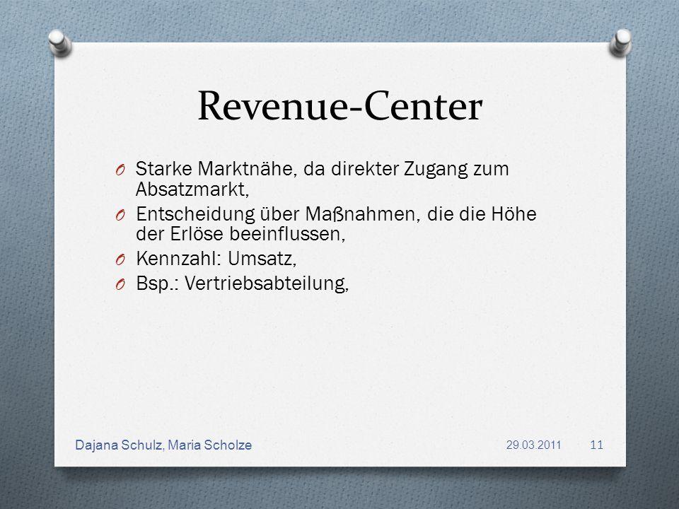 Revenue-Center O Starke Marktnähe, da direkter Zugang zum Absatzmarkt, O Entscheidung über Maßnahmen, die die Höhe der Erlöse beeinflussen, O Kennzahl